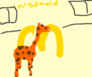 Giraffe breaks thru McDonalds