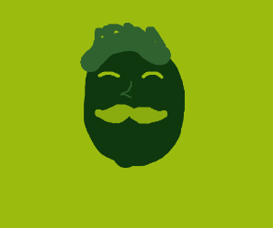 green guy with a dark green hipster moustache