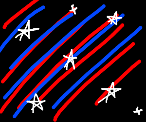 Red blue diagonal straight lines white stars