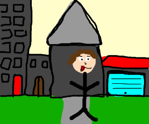 Man with tounge out in front of buildings