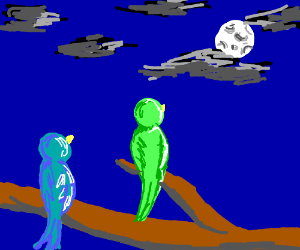 Two birds on tree branch looking at the moon