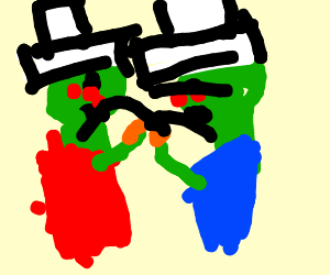 Two zombies wearing white Tophats.