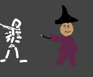 dabbing skeleton confuses witch