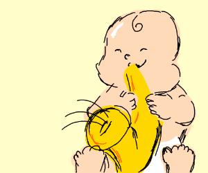 baby playing saxaphone