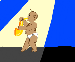 baby playing a saxophone