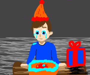 A sad kid who only got one birthday present.