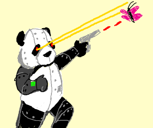 robot panda shooting lazerz at a butterfly