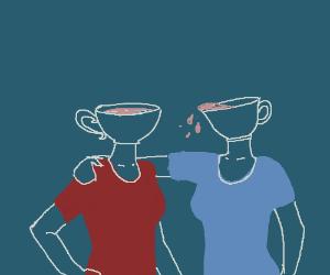 two girl in cuphead