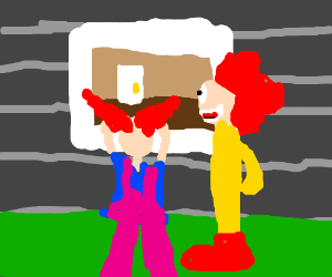 a load of clowns looking through a window