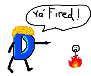 Drawception D w/ Trump hair firing person