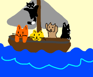 five cats on a boat