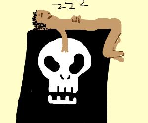 Sleeping man on death bed