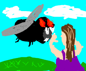 Mutated fly trys to bite woman in purple dress