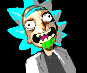 Rick with green liquid coming out of his mouth