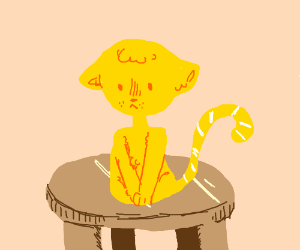 Yellow cat (on table) w/ white stripes on tail