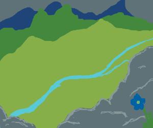 river cutting through a valley