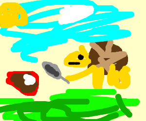 Armadillo is gonna eat steak with a spoon