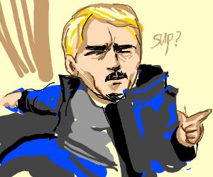 Adult Baby in blue jacket hey hey yo yo
