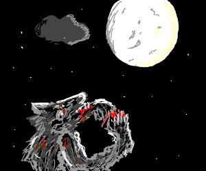 Werewolf looks at the moon