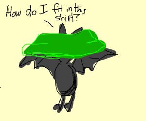 a bat with a green shirt.
