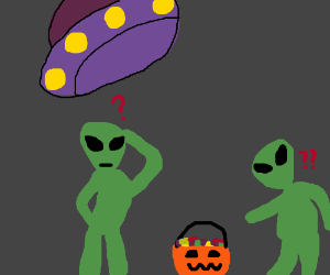 Aliens confused by halloween candy