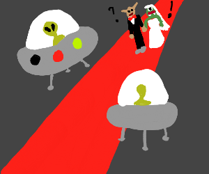 Aliens attend monster wedding