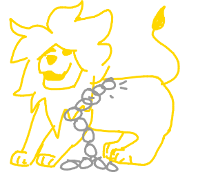 A lion escaping from chains - Drawception