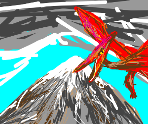pterodactyl in icy mountain