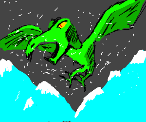 Pterodactyls flying over snowy mountain