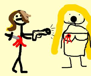 Bleeding man shoots a breast