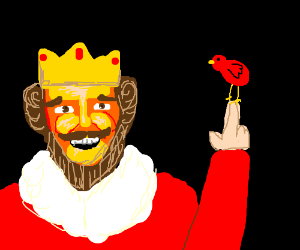 a king is friends with a small red bird