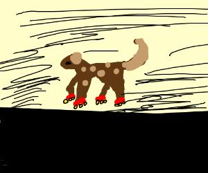 Dog on roller skates