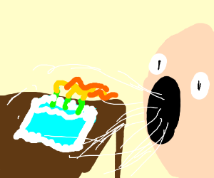 ihaling a birthday cake