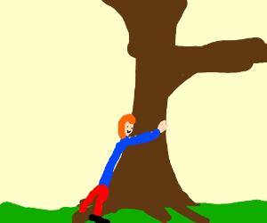 Redheaded tree-hugger