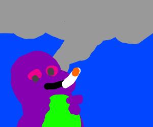 Barney Smoking Weed
