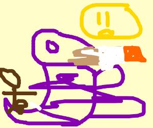 Barney smoking a cig