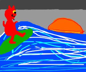 Satan surfing into the sunset.