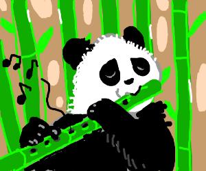 Panda plays a bamboo flute