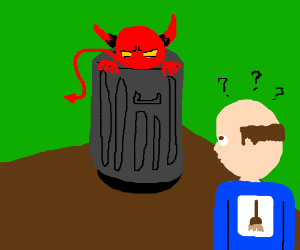 janitor questions the actions of Trash Devil