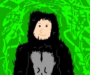 Gorilla with a white human's face.