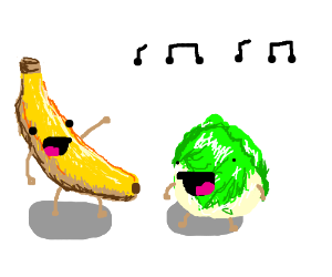 Banana and lettuce dancing and laughing