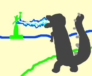 Godzilla atacking lady liberty