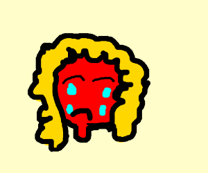 red skin girl with blonde hair cries