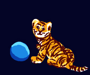 tiger cub playing with blue ball