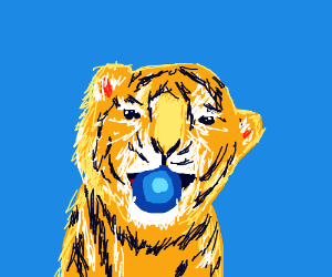 Cute tiger playing with a blue ball