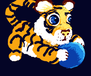 Tiger with Blue Ball (like the toy kind)