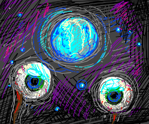 eyeballs floating in front of a blue moon