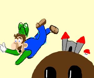 Luigi is banned from the mushroom Kingdom