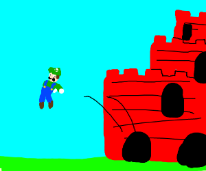Luigi being kicked out of the Castle
