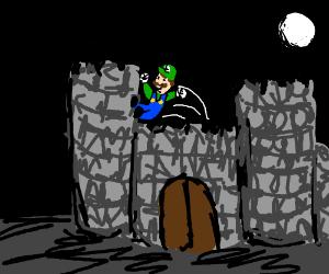 Luigi jumps out of the castle